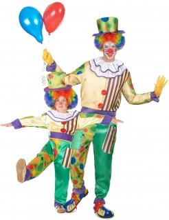 Clown-Paarkostüm Vater und Sohn Karneval bunt