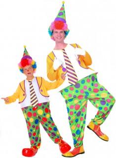 Clown-Paarkostüm für Vater und Sohn bunt