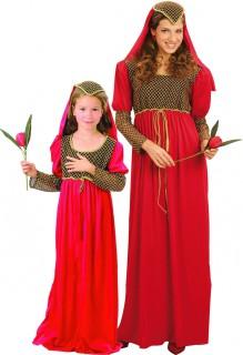 Mittelalterliches Prinzessinnen-Paarkostüm für Damen und Mädchen schwarz-rot-goldfarben