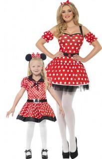 Maus-Paarkostüm für Mutter und Tochter rot-weiss-schwarz