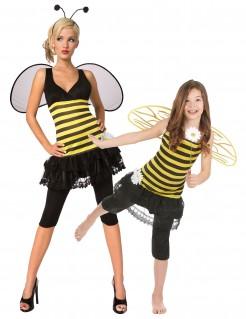 Bienenkönigin Paarkostüm für Mutter und Tochter Karneval schwarz-gelb