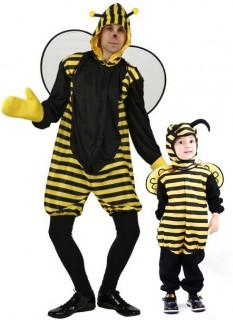 Bienen-Paarkostüm Vater und Kind Karneval schwarz-gelb