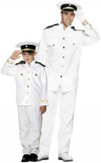 Schiffskapitän-Paarkostüm Vater und Sohn Karneval weiss-schwarz