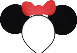 Süße Maus Haarreif mit Ohren und Schleife schwarz-rot