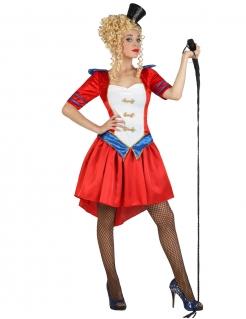 Kostüm Dompteuse für Damen rot-weiss-blau