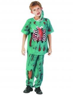 Zombiedoktor Kinderkostüm Zombie-Arzt grün-rot-weiss
