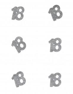 Tischdeko Geburtstag 18 Jahre Konfetti 6 Stück Glitzer silber 4,5x5cm 10g