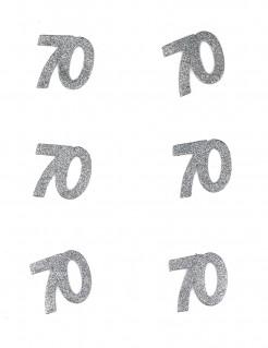 Tischdeko Geburtstag 70 Jahre Konfetti 6 Stück Glitzer silber 4,5x5cm