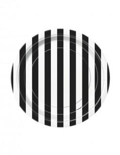 Retro Teller Pappteller Set 8 Stück schwarz-weiss 18cm