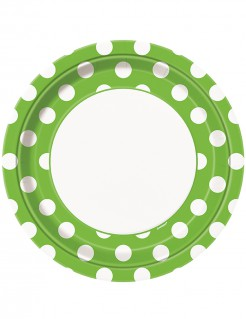 Gepunktete Teller 8 Stück grün-weiß 23 cm