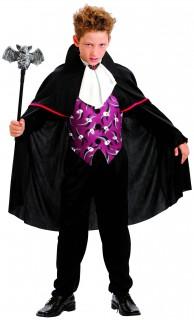 Edler Vampir Halloween Kinderkostüm schwarz-weiss-rot