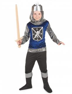 Mittelalter Ritterkostüm für Kinder blau-schwarz-silber