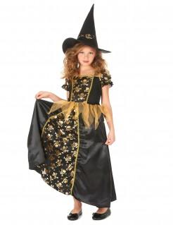 Hexen Kinderkostüm mit Totenköpfen schwarz-gold