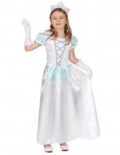 Prinzessin-Mädchenkostüm mit Glitzer weiss-blau-silber
