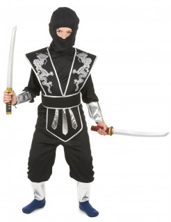 Ninja Kinderkostüm schwarz-silber