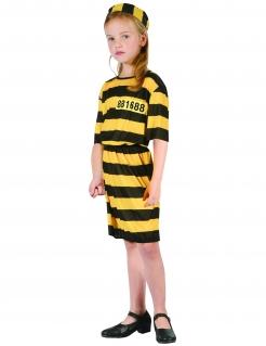Sträflingskostüm für Kinder Gefangene schwarz-gelb