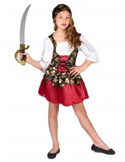Süße Piratin Kinderkostüm rot-gold-schwarz
