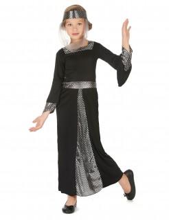 Mittelalterliche Prinzessin Kinderkostüm schwarz-silber
