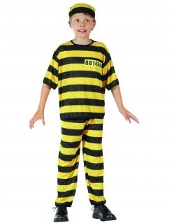 Sträfling Kinderkostüm schwarz-gelb