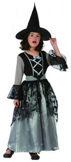 Edle Zauberin-Kinderkostüm Hexe schwarz-silber