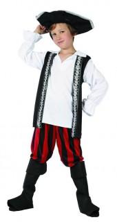 Piraten-Kinderkostüm mit Totenschädeln Seeräuber-Kostüm schwarz-rot-weiss