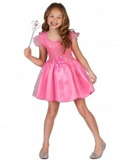 Prinzessinnenkleid Kinderkostüm Feenkostüm mit Pailletten pink-silber