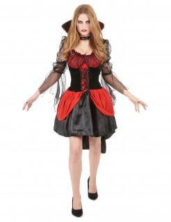 Aufreizende Vampirlady Halloween-Damenkostüm schwarz-rot