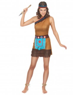 Edles Indianerin Damenkostüm braun-blau