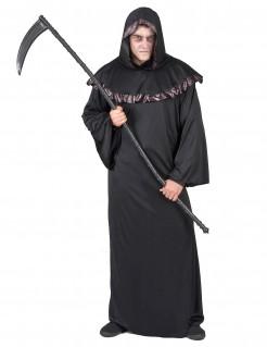 Teuflischer Sensenmann Mönchsrobe Herrenkostüm schwarz