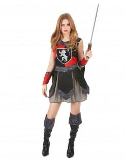 Mittelalterliche Kriegerin Damenkostüm Ritterin schwarz-rot-silber