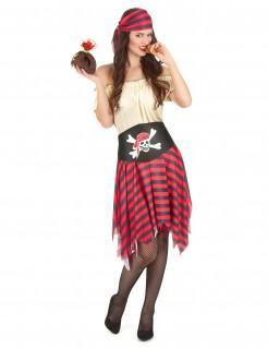 Freche Piratin Damenkostüm rot-schwarz-beige