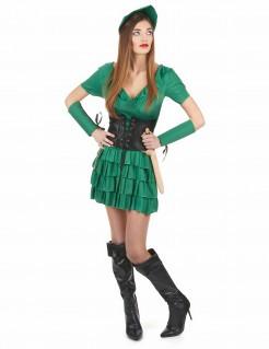 Robin Hood Damenkostüm Mittelalter Kostüm grün-schwarz