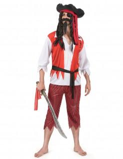 Piraten-Männerkostüm Seeräuber rot-weiss-schwarz
