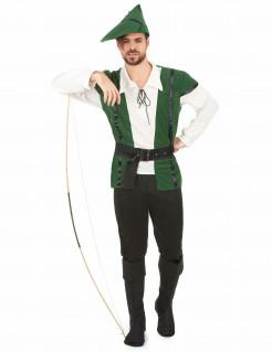 Mittelalterlicher Jäger Kostüm Bogenschütze grün-schwarz-beige