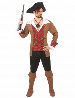 Wagemutiger Pirat Freibeuter Kostüm braun-rot-schwarz