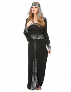 Mittelalter Edeldame Kostüm Königin schwarz-silber