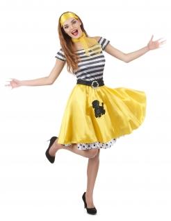 50er-Jahre Damenkostüm 50er-Kleid gelb-schwarz-weiss