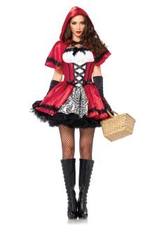Dunkles Rotkäppchen Damenkostüm Märchen rot-weiss-schwarz