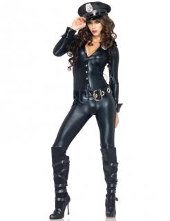 Heisse Polizistin Damenkostüm Catsuit schwarz