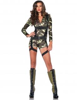 Sexy Soldatin Damenkostüm Militär grün-camouflage