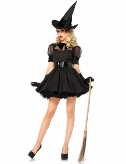 Hexe Halloween-Damenkostüm sexy schwarz