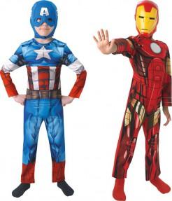 Captain Amaerica™ und Iron Man™ Kostümpack für Kinder Karneval blau-rot