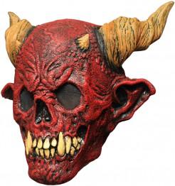 Höllischer Teufel mit Hörnern Latex-Maske rot-beige