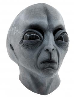 Ausserirdischer Halloween-Maske grau-schwarz