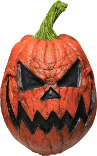 Kürbis-Monster Latex-Maske Halloween orange-schwarz