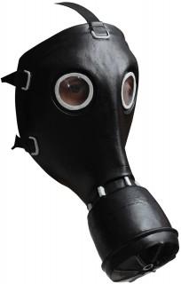 Horror-Gasmaske Halloween schwarz-silber