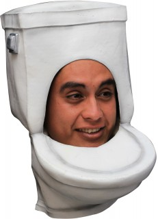 Lustiger Hut Maske Toilette WC weiss