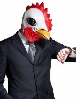 Lustige Maske Hahn für Erwachsene weiss-gelb-rot