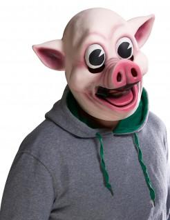 Psycho-Schwein Halloween-Maske rosa-weiss
