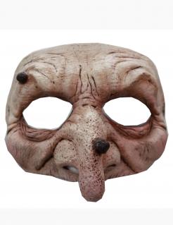 Schaurige Hexe Horror-Halbmaske haut